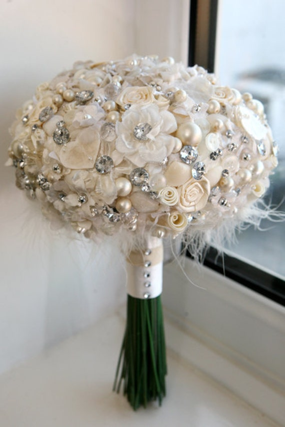 style Artificial Silk Heirloom Bridal Wedding Bouquet posie shabby Chic