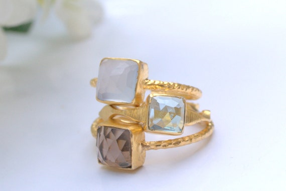 Gold Ring - Stacking Rings -Hammered Rings-- Smokey Topaz Ring, Hydro Blue Topaz Ring and Blue Chalcedony Ring -Hammered Rings