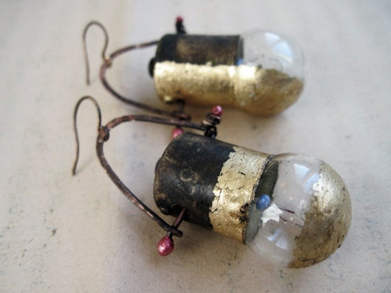 Merciful.  Miniatures Lightbulb Earrings with Gold Gilding.