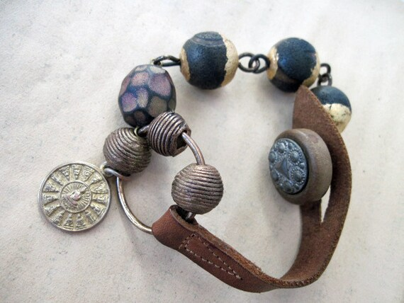 The End of Greatness. Rustic Bracelet with Leather Strap and Gold Foiled Agate Beads.