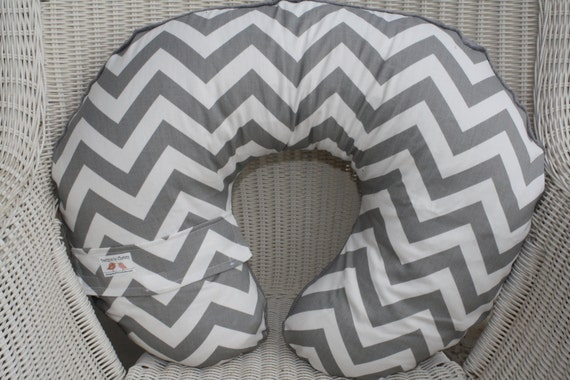Gray and White Chevron and Gray Minky Boppy Cover