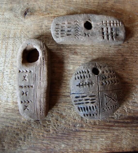 Proto Writing II - ceramic talismans