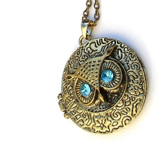 Bronze Owl Locket Necklace with Crystal