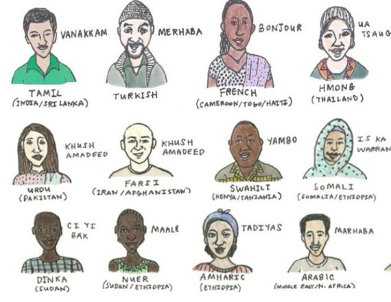 Say Hello in Many Languages (8.5 x 11) Giclee Print People of Many Nationalities Colored Pencil and Marker