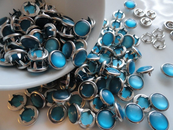 12 Snaps Pearl Teal Set  4 Part Prong Size 16