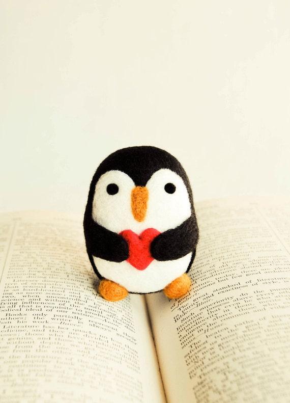 Needle Felted Percival the Penguin Wooly with Heart Handmade