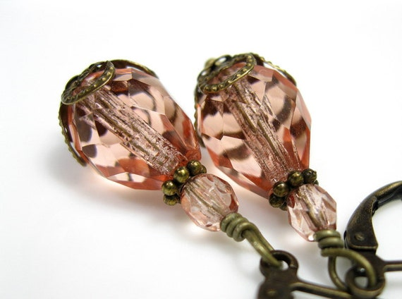 Peach, Czech Glass, Teardrops, Vintage, Style, Earrings