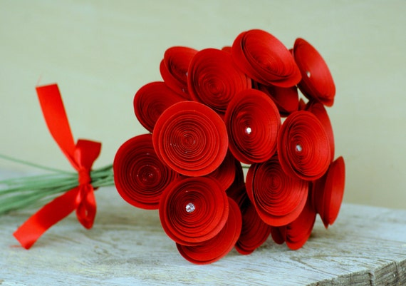 Romantic Red Bouquet -- Red Paper Flowers -- Two Dozen Long Stem Roses