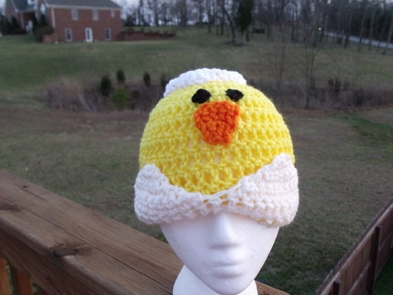 Easter Chick Duck Hatching Egg Crochet Beanie Skullcap Hat--cute photo prop