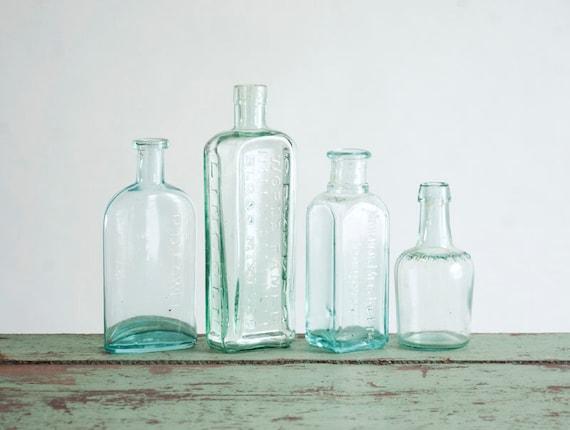Antique Bottle Collection - Glass, Rustic, Flower Vase, Medicinal