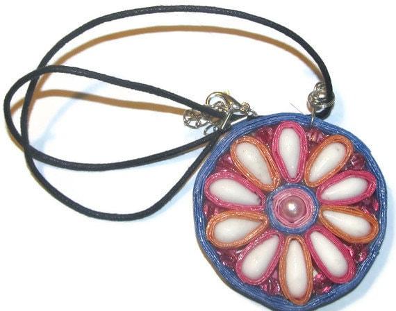 Pendant - paper & bead flower - OOAK