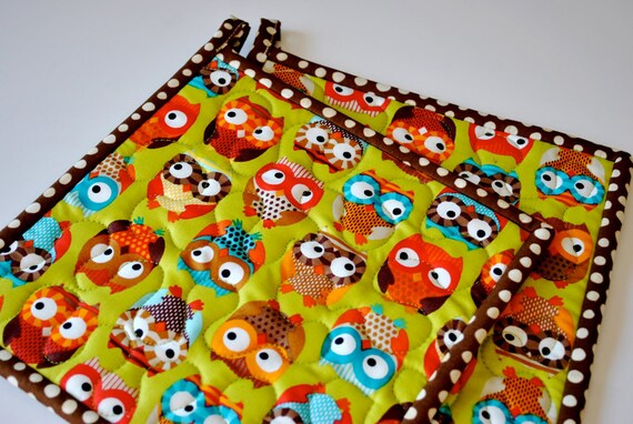 Bright Owls set of two quilted potholders