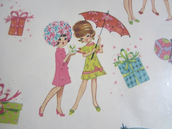 Vintage Wrapping Paper Shower Surprise Gift Wrap