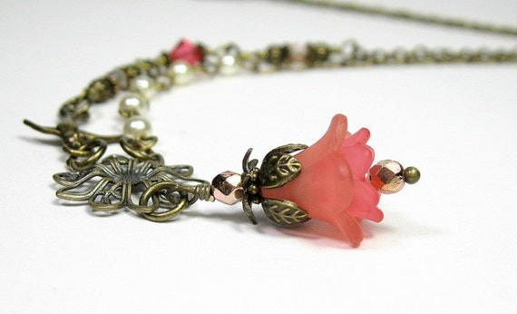 Coral, Lucite, Flower Necklace, Czech Glass, Vintage Style, Antiqued Brass