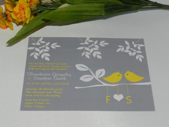 Vintage Modern Love Birds Wedding Invitations Grey and Yellow