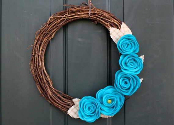 Spring Wreath: Rustic Grapevine Wreath with Giant Blue Roses and Plaid Wool Leaves