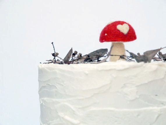Toadstool Cake Topper for your Woodland Wedding Cake An enchanting