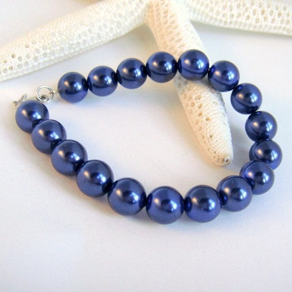 Vintage Glass Pearl Bracelet in Sodalite Blue, Modern, Traditional