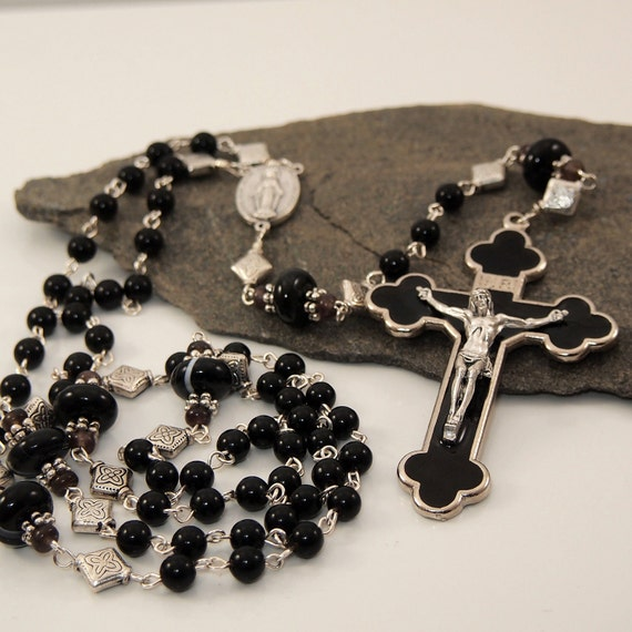Mens Long Black Agate Rosary with Black Enamel Cross