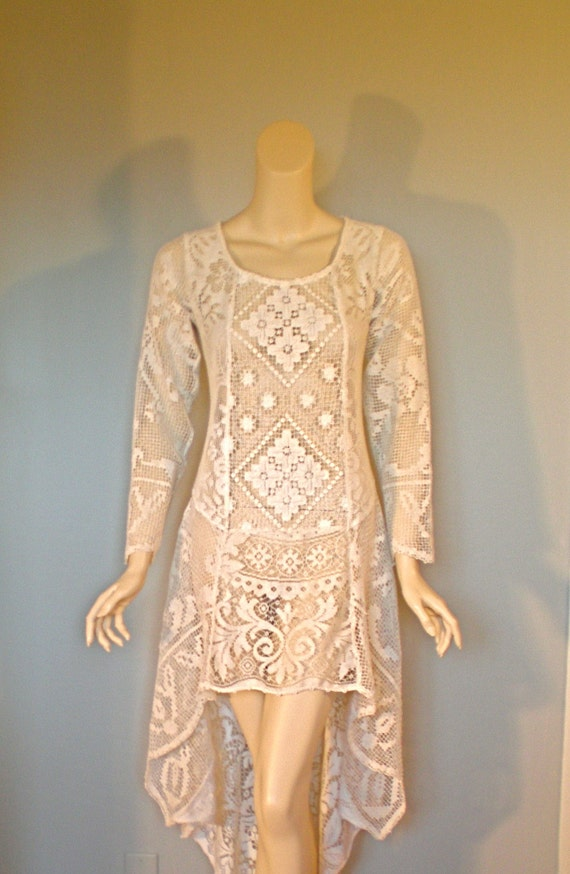 Sheer Draped Gypsy Vintage LACE Dress Fishtail Hem HiPpiE Wedding ooak M