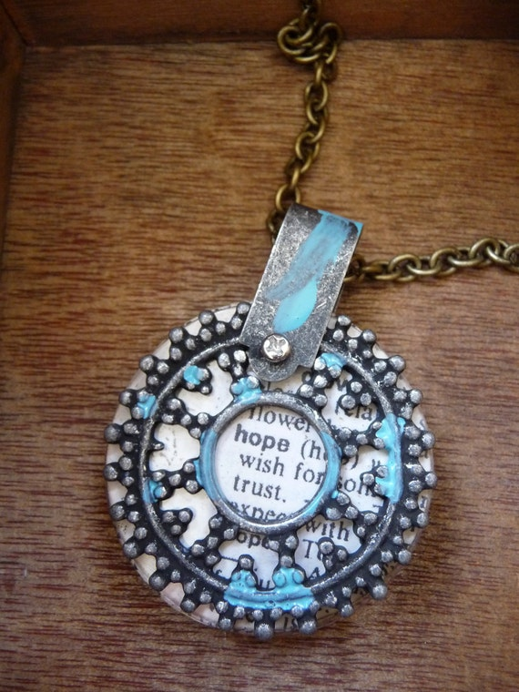 vintage dictionary page paper pendant necklace by vintagerust