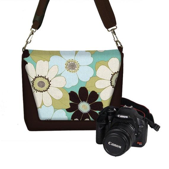 Digital SLR Camera Bag Dslr Camera Bag Purse Womens Camera Bag Case  - Deluxe Chocolate Daisy