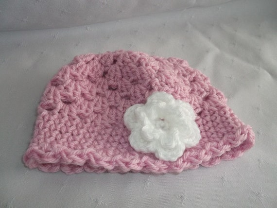 Newborn Baby Pink Hat with White Flower