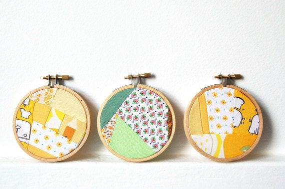 Embroidery Hoop Fabric Wall Art. Set of Three 3 inch Hoops. Yellow, Mint, Green, Vintage Fabrics. by Merriweather Council on etsy