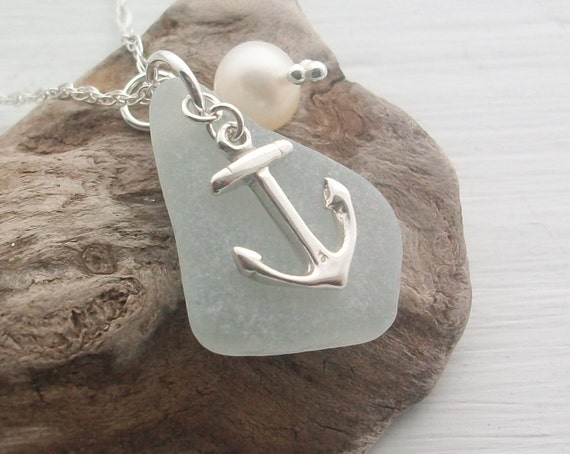 Scottish Sea Glass Jewelry - Sea Glass and Sterling Silver Anchor Necklace ....... SEAFOAM ANCHOR