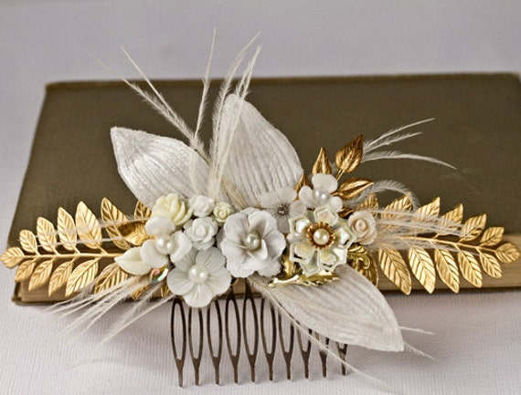 Bridal Hair Comb - Wedding Accessories, Romantic Shabby Chic Hairpiece, White and Gold Elegant Vintage Hair Comb