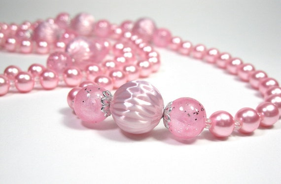 Extra Long, Vintage, Pink, Pearl, Necklace, 1940s