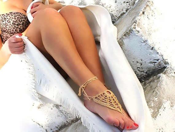 Beige barefoot sandals, crochet nude shoes, foot jewelry, wedding, victorian lace, sexy, lolita, yoga, anklet , bellydance, stempunk