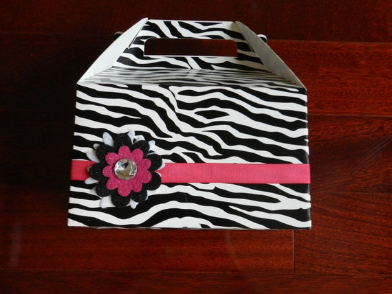Zebra print party favor box