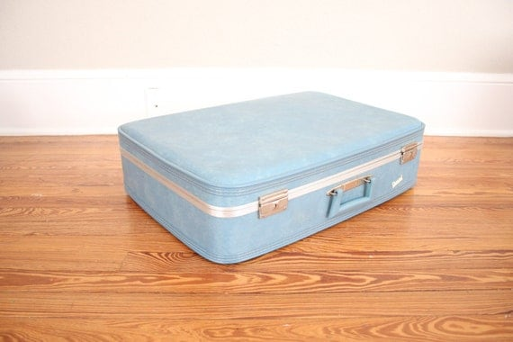 Vintage Blue Suitcase // 1960s Mid Century Retro Luggage in Baby Blue and Silver by Carousel