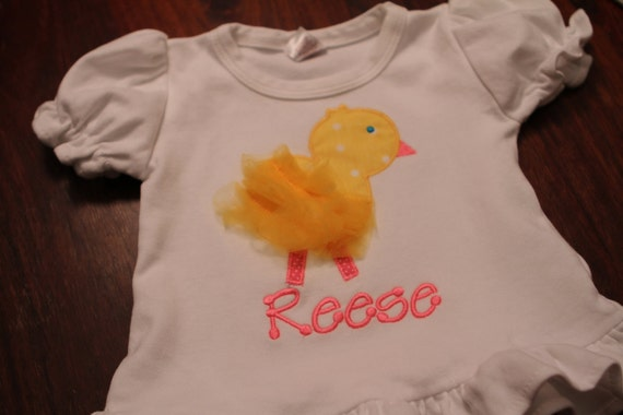 Tulle Chick Applique Ruffle Tee