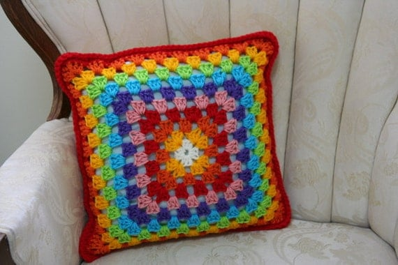 Rainbow colors love crochet pillow