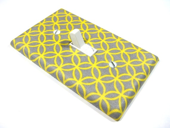 Gray and Yellow Abstract Circle Tile Switchplate Light Switch Plate Cover Modern Home Decor 382