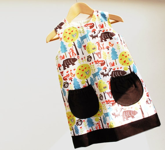 Woodland friends print pinafore- organic cotton- sizes 6m, 12m, 2t, 3t, 4t, 5t ,6t ,7t
