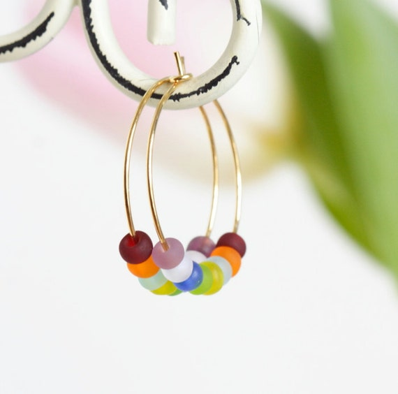 Colorful Beaded Hoop Earrings, Tiny Glass Beads on Gold Hoop Earrings