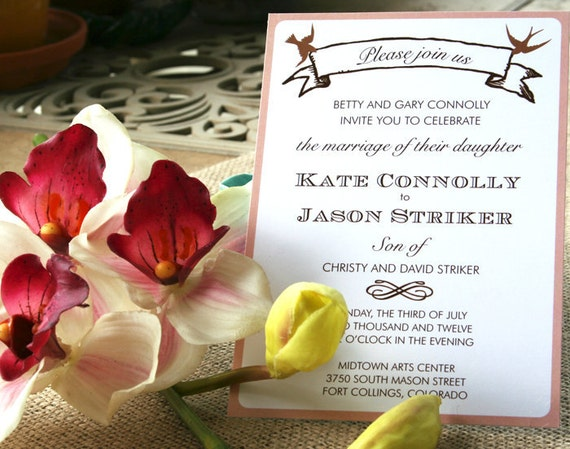 Bird and Banner Wedding Invitation pink and chocolate brown or customized