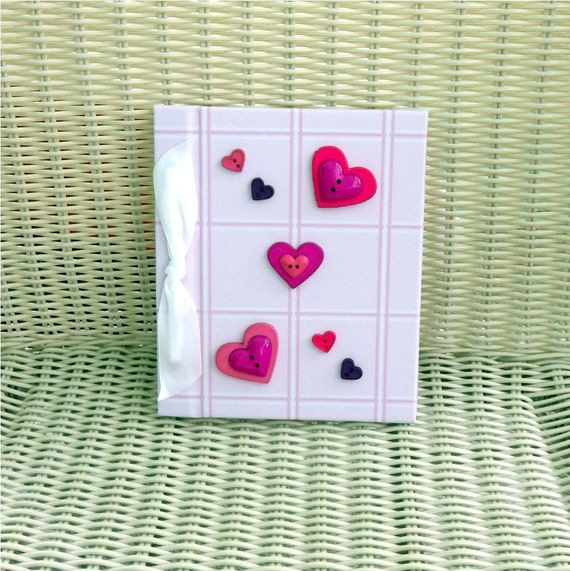Photo Album Pink Plaid - Heart Buttons, Pink, Purple, Magenta