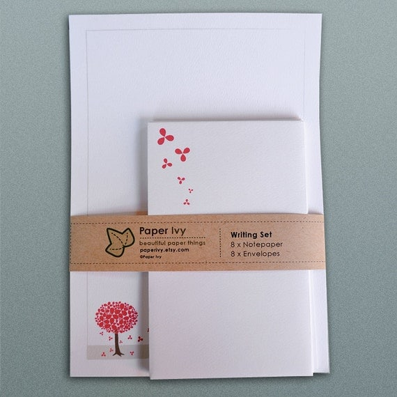 Stationery Writing Set - Red Blossom Tree