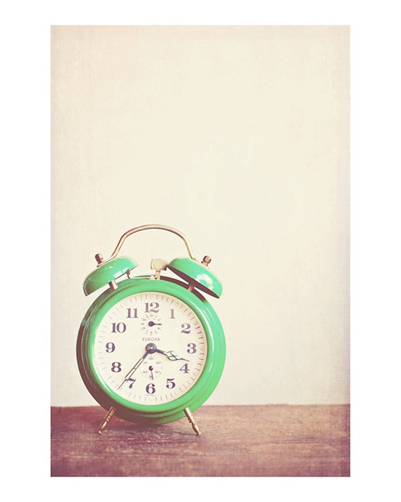 green alarm clock photograph - whimsical fine art photography, vintage inspired, nostalgic, time - 10x8