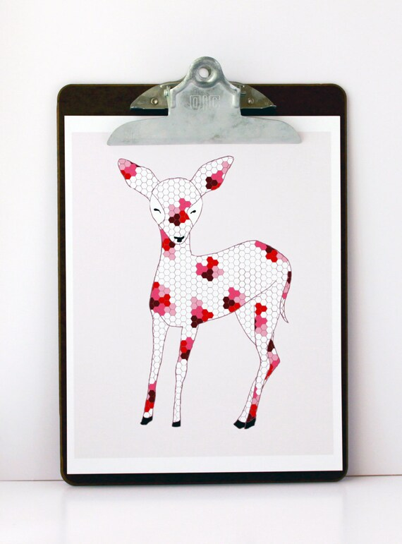 Patchwork Deer Print by Gingiber
