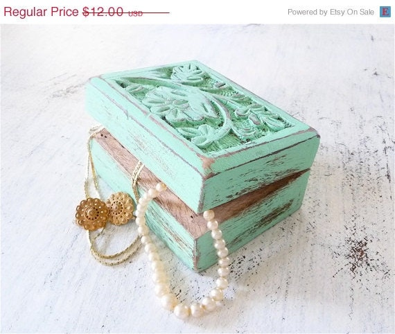 ON SALE Shabby Chic Carved Wooden Trinket Box in Sea Foam Green