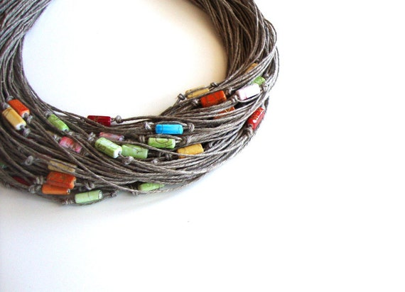 Spring fashion linen necklace, multistrand beaded necklace, colorful bib