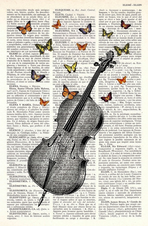Butterfly collage Vintage Book Print Butterflies over cello collage Print on Vintage Dictionary  art