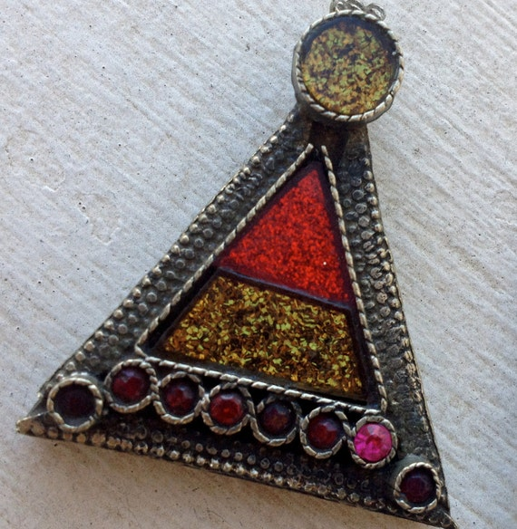 Small Multi-Glittery Kuchi Pendant (17): Tribal Assemblage Jewelry Supply
