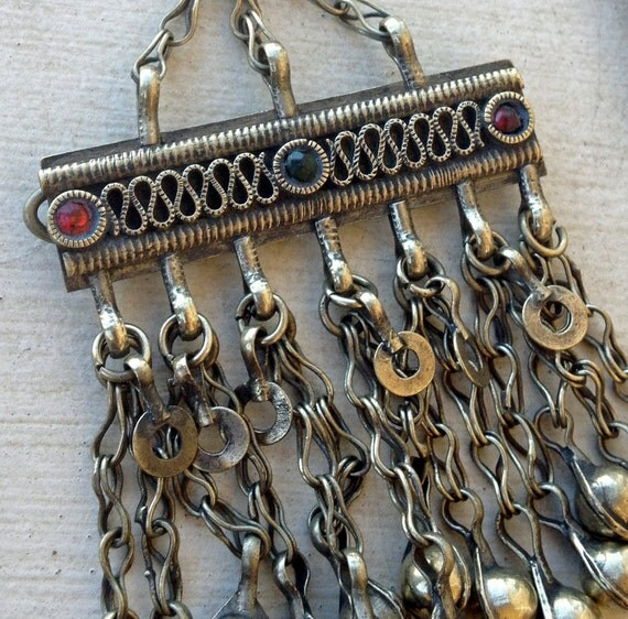 Kuchi Pendant Barrette:  Tribal Belly Dance, Tribal Hair Accessory, Assemblage Jewelry Supply
