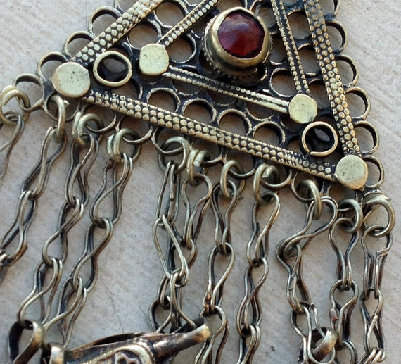 Triangular Tribal Kuchi Pendant: Belly Dancer Costuming, Assemblage Jewelry, Focal